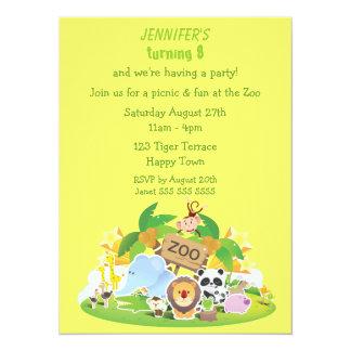 Fête d'anniversaire mignonne d'animaux de zoo carton d'invitation  13,97 cm x 19,05 cm