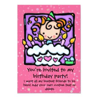 Fête d'anniversaire mignonne de LittleGirlie Carton D'invitation 12,7 Cm X 17,78 Cm