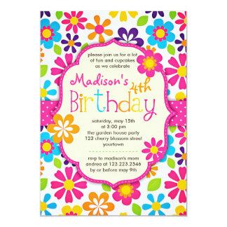 Fête d'anniversaire mignonne de ressort coloré carton d'invitation  12,7 cm x 17,78 cm
