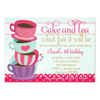 Fête d'anniversaire mignonne rose et bleue carton d'invitation  12,7 cm x 17,78 cm