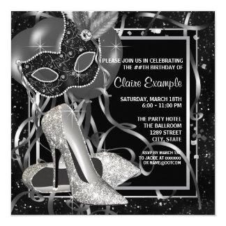 Fête d'anniversaire noire et blanche de talons carton d'invitation  13,33 cm