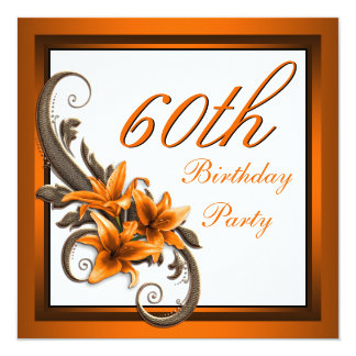 Fête d'anniversaire noire et orange élégante de carton d'invitation  13,33 cm