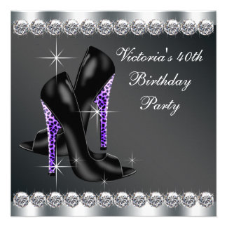 Fête d'anniversaire pourpre élégante de la femme invitation personnalisée