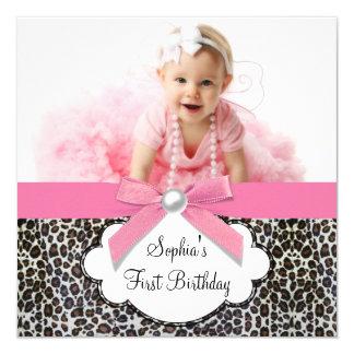 Fête d'anniversaire rose de léopard de filles bristols personnalisés