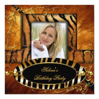 Fête d'anniversaire sauvage de caramel de tigre de carton d'invitation  13,33 cm