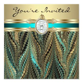 Fête d'anniversaire turquoise de la femme d'or de cartons d'invitation
