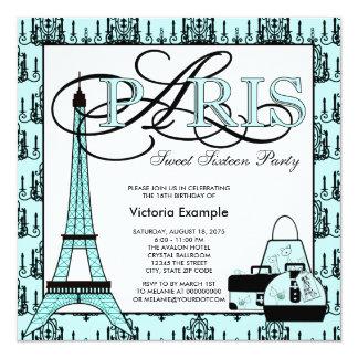 Fête d'anniversaire turquoise du bonbon 16 de carton d'invitation  13,33 cm