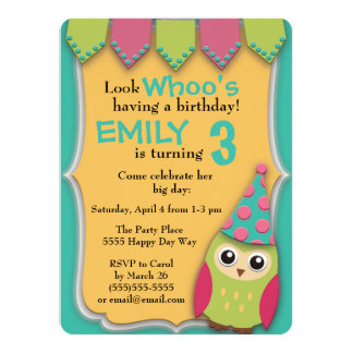 Fête d'anniversaire turquoise rose mignonne de carton d'invitation  13,97 cm x 19,05 cm