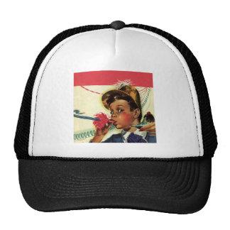 Fête d'anniversaire vintage, fille avec le casquette de camionneur
