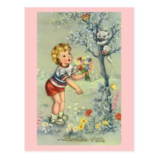 Fête de Bonne, carte française, enfant avec des fl Cartes Postales