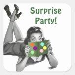 Fête de Lecture-carte de Madame d'amusement Stickers Carrés