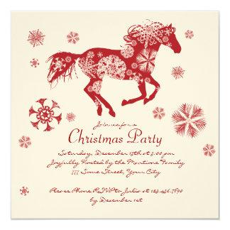 Fête de Noël blanche et rouge joyeuse de cheval Carton D'invitation 13,33 Cm