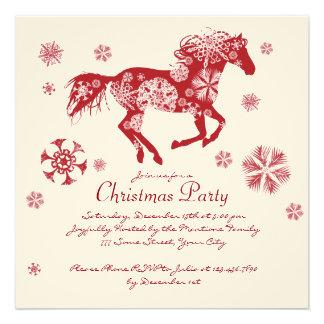 Fête de Noël blanche et rouge joyeuse de cheval Faire-parts