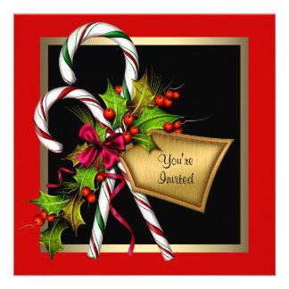 Fête de Noël de rouge de houx de sucre de canne Invitations