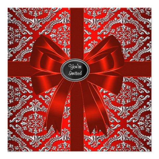 Fête de Noël d'entreprise de damassé rouge argenté Bristol