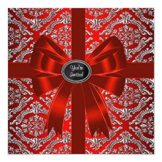 Fête de Noël d'entreprise de damassé rouge Carton D'invitation 13,33 Cm