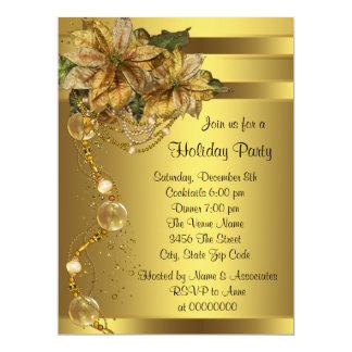 Fête de Noël élégante d'or de noir de poinsettia Carton D'invitation 16,51 Cm X 22,22 Cm