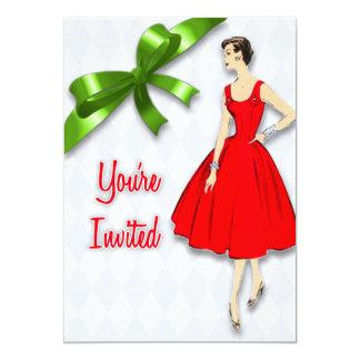 Fête de Noël moderne de la rétro moitié du siècle Carton D'invitation 12,7 Cm X 17,78 Cm