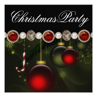 Fête de Noël noire verte rouge d or Cartons D'invitation