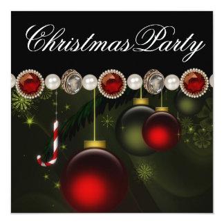 Fête de Noël noire verte rouge d'or Carton D'invitation 13,33 Cm