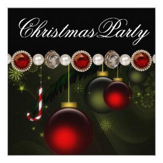Fête de Noël noire verte rouge d'or Cartons D'invitation