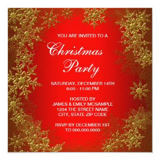 Fête de Noël rouge de flocon de neige d'or Carton D'invitation 13,33 Cm