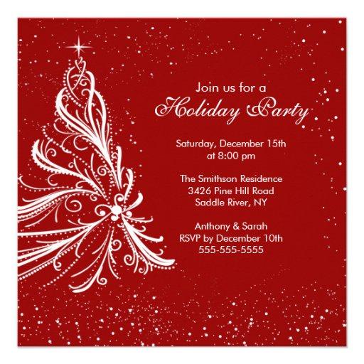 Fête de Noël rouge et blanche élégante de vacances Invitation Personnalisée