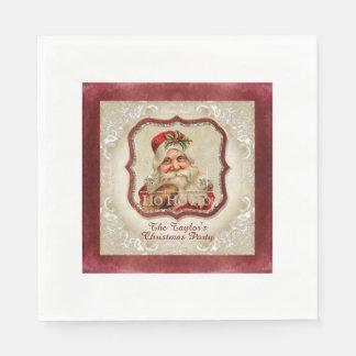Fête de Noël vintage de décor du père noël Ho Ho Serviette Jetable
