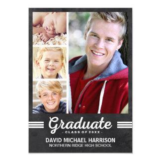 Fête de remise des diplômes de Multi-Photo de Carton D'invitation 12,7 Cm X 17,78 Cm