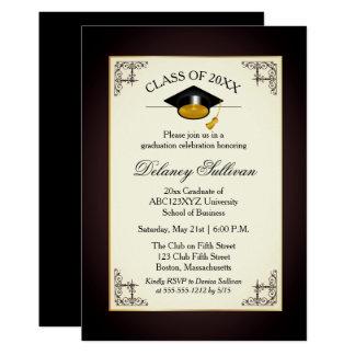 Fête de remise des diplômes formelle élégante carton d'invitation  12,7 cm x 17,78 cm