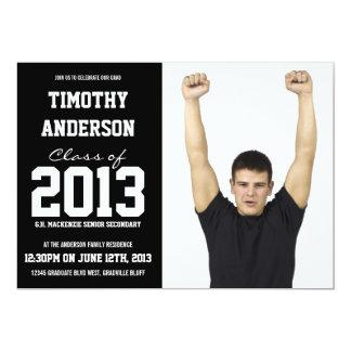 Fête de remise des diplômes moderne de photo de carton d'invitation  12,7 cm x 17,78 cm