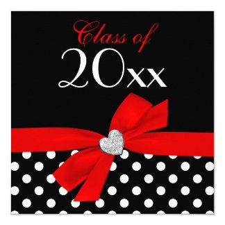 Fête de remise des diplômes noire rouge de coeur carton d'invitation  13,33 cm