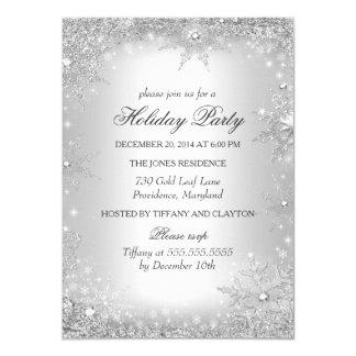 Fête de vacances argentée de Noël du pays des Carton D'invitation 11,43 Cm X 15,87 Cm