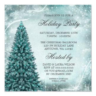 Fête de vacances bleue turquoise d'arbre de Noël Carton D'invitation 13,33 Cm