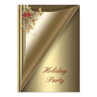 Fête de vacances rouge de Noël d'or Carton D'invitation 12,7 Cm X 17,78 Cm