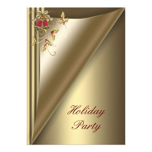 Fête de vacances rouge de Noël d'or Invitation