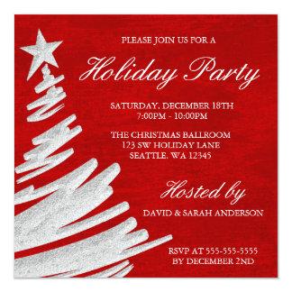 Fête de vacances rouge et argentée d'arbre de Noël Carton D'invitation 13,33 Cm