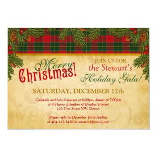 Fête de vacances traditionnelle de plaid de tartan carton d'invitation  12,7 cm x 17,78 cm