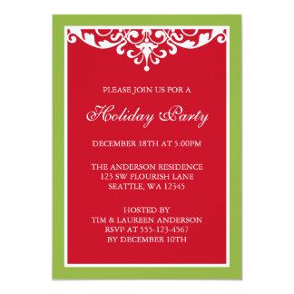 Fête de vacances verte rouge de Noël de rouleau de Carton D'invitation 12,7 Cm X 17,78 Cm