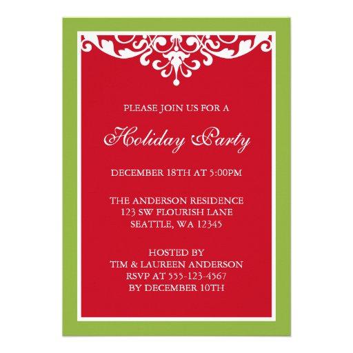 Fête de vacances verte rouge de Noël de rouleau de Invitations Personnalisées