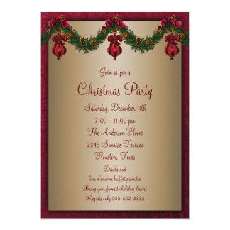 Fête de vacances verte rouge de Noël Carton D'invitation 12,7 Cm X 17,78 Cm