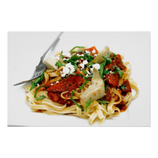 Fettuccini With Roasted Tomato And Basil Poster