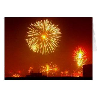 Feu d artifice pour le nouvel an - carte de vœux