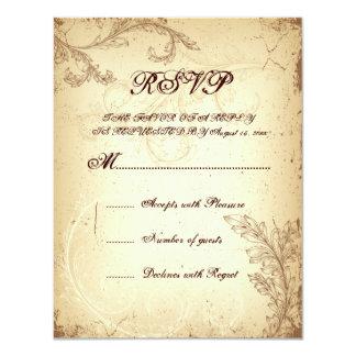 Feuille beige brune vintage de rouleau épousant la carton d'invitation 10,79 cm x 13,97 cm