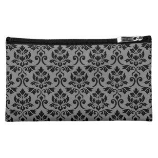 Feuille Damask 2Way Pattern Black & Gray Makeup Bag