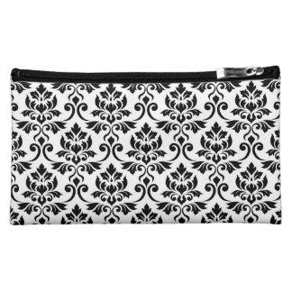 Feuille Damask 2Way Pattern Black & White Cosmetic Bag