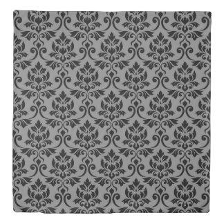 Feuille Damask Big Pattern Black on Gray Duvet Cover