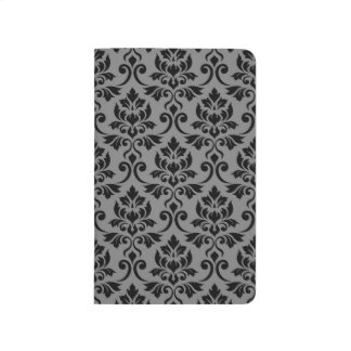 Feuille Damask Big Pattern Black on Gray Journal