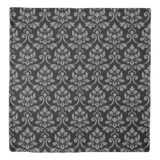 Feuille Damask Big Pattern Gray on Black Duvet Cover