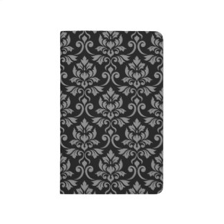 Feuille Damask Big Pattern Gray on Black Journal